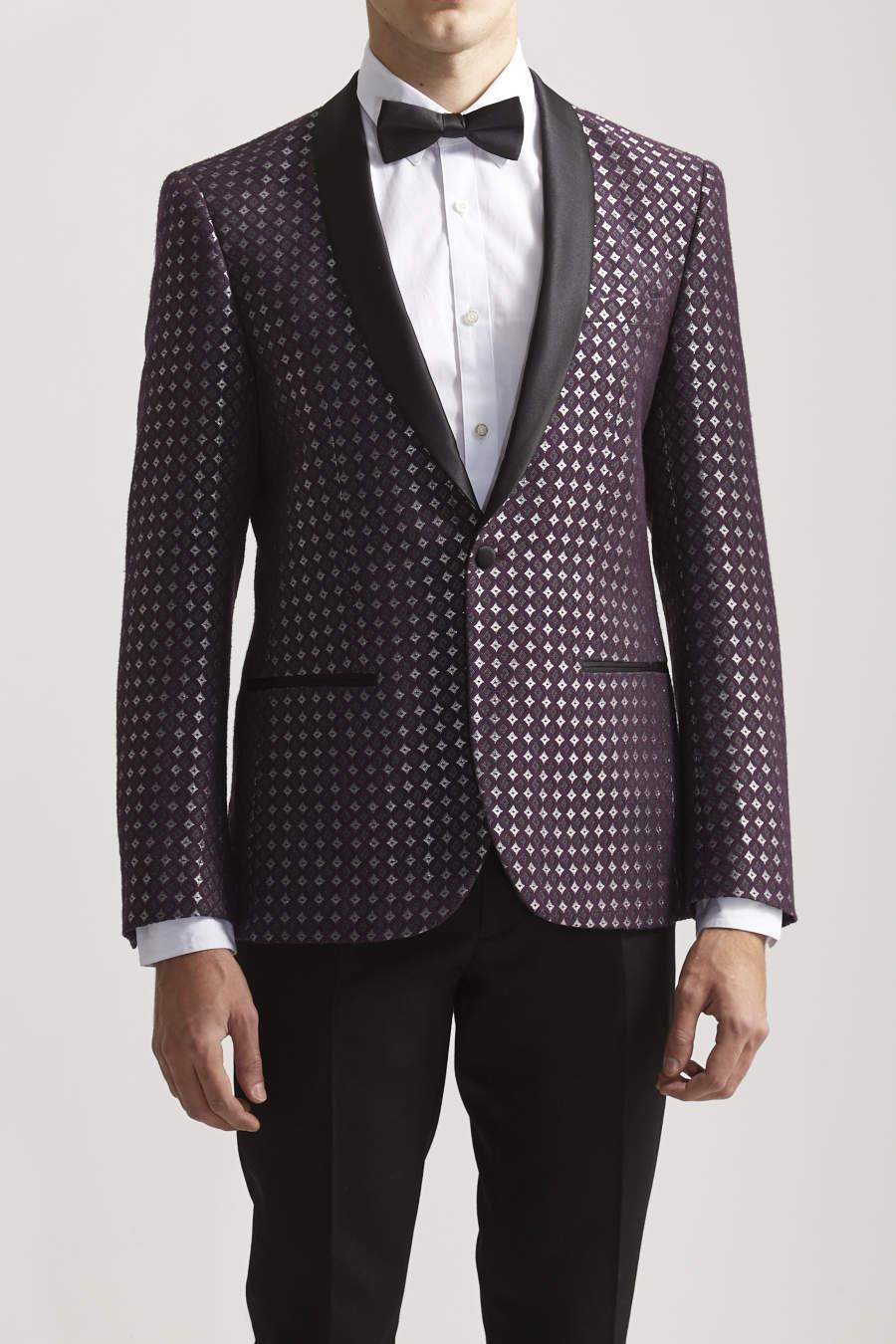 Slim geometric jacquard tuxedo jacket