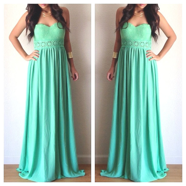 Floral Cutout Waist Maxi Dress - Mint