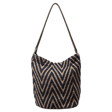 Buy East Woven Zig Zag Tote Bag, Indigo | John Lewis