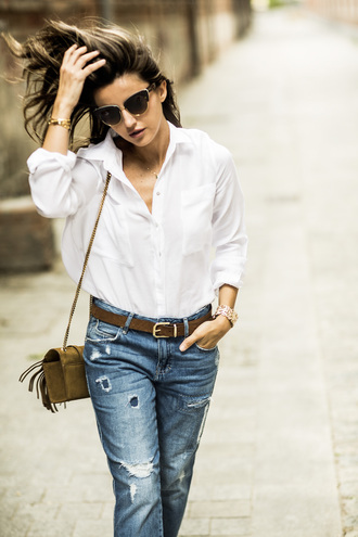 lovely pepa blogger bag jeans sunglasses shirt shoes button up white blouse blouse mini bag shoulder bag brown bag ripped jeans high waisted jeans