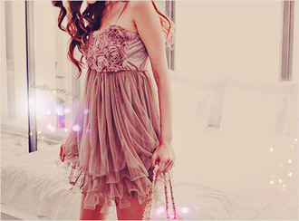 dress roses lovely ruffle layers brunette cute dress rose dress rose petal pastel short