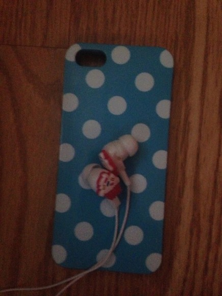 polka dots case earphones cupcake iphone case blue