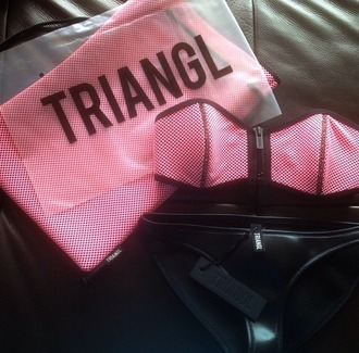 swimwear pink black leather zip bra panties