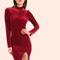 Velvet turtleneck slit bodycon dress burgundy -shein(sheinside)