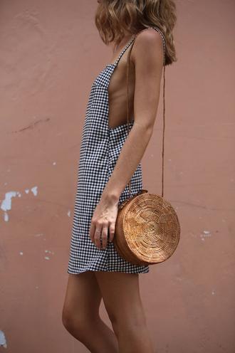 dress tumblr gingham mini dress bag round bag summer dress summer outfits gingham dresses