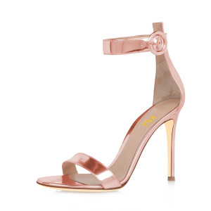 Women's Pink Metal Leather Ankle Strap Stiletto Commuting Heel Sandals