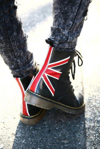 union jack uk black white shoes red steel martens