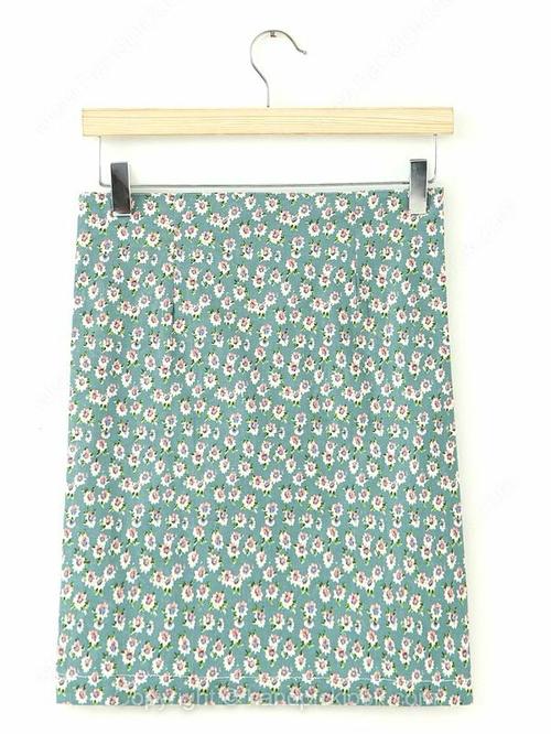 Green Floral Print Zip Embellished Skirt - HandpickLook.com