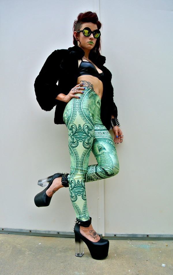 pants leggings printed leggings swag hip hop green posh'd boutique chic money dollar