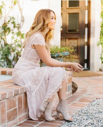 dress booties romantic summer dress romantic dress lauren conrad blogger lace dress midi dress nude dress lace up boots