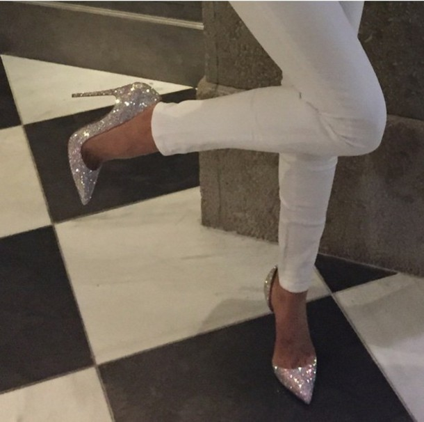 2226fafc7d8 shoes high heels sparkly shoes sparkle sparkle sparkly heels pointed toe on point  silver heels