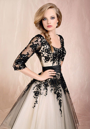 Black Ivory Lace Sleeves A Line Wedding Bridal TEA Length Dress Formal Prom Gown | eBay