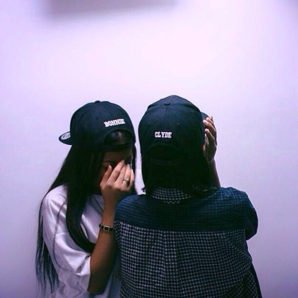hat cute black cap bonnie and clyde bonnie clyde his and hers couples fashion dope snapback