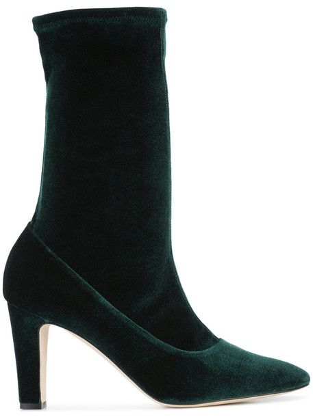 Manolo Blahnik women leather velvet green shoes