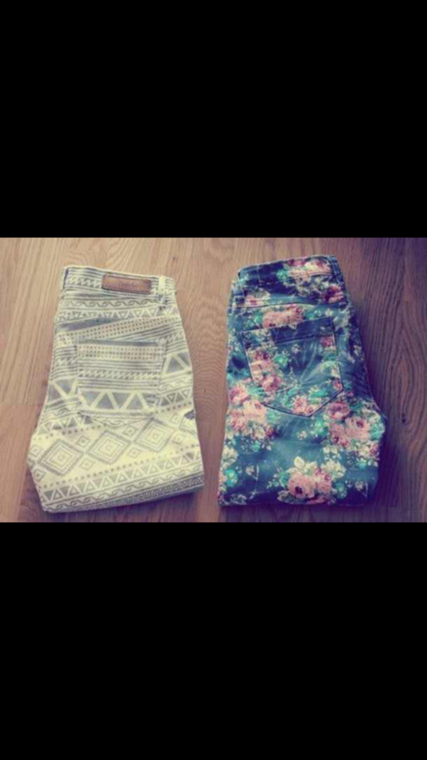 jeans roses aztec