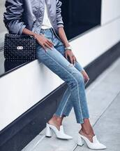 shoes,tumblr,white shorts,mules,high heels,heels,denim,jeans,blue jeans,ripped jeans,bracelets,watch,silver watch,bag,black bag,quilted,quilted bag,jacket