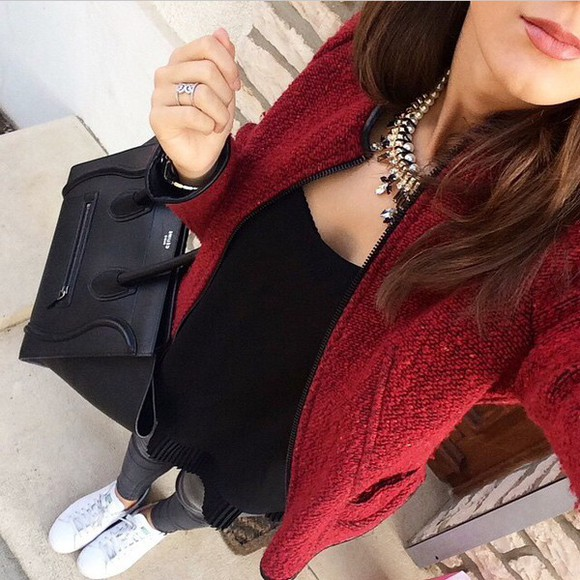pearl necklace black coat red red jacket black top adidas shoes adidas bag celine bag