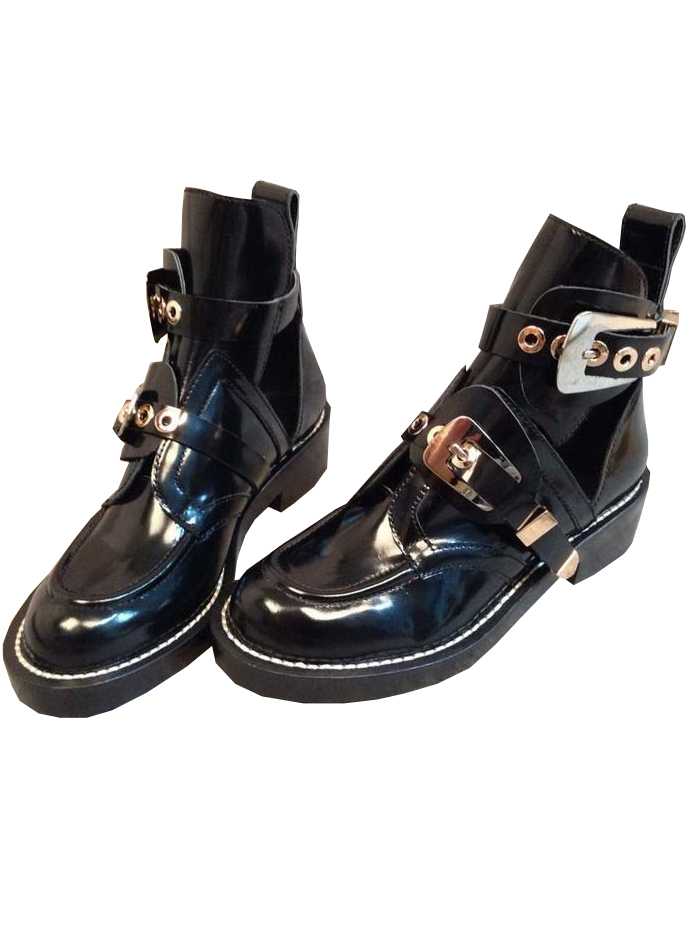 Black patent leather motorcycle boots