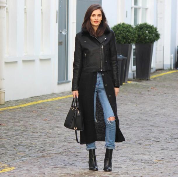peexo blogger cardigan black jacket ripped jeans black bag