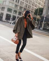 pants,black pants,high waisted pants,pumps,high heel pumps,suede pumps,coat,checkered,oversized coat,handbag,sweater,knitwear,sunglasses