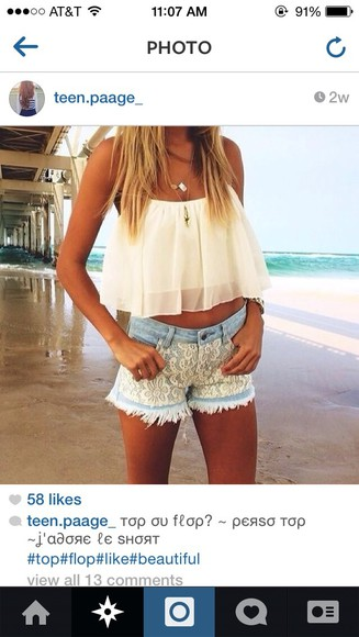 shorts lace white blouse lace up white crop tops white lace shorts denim shorts