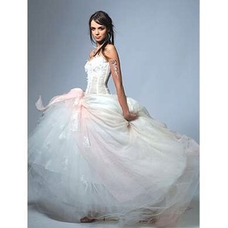 dress wedding dress wedding dress white lace pink bow
