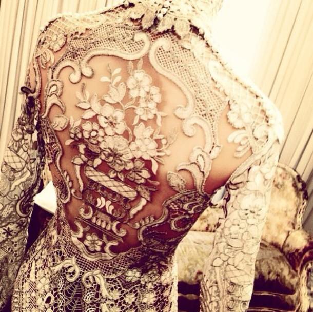 dress beige lace