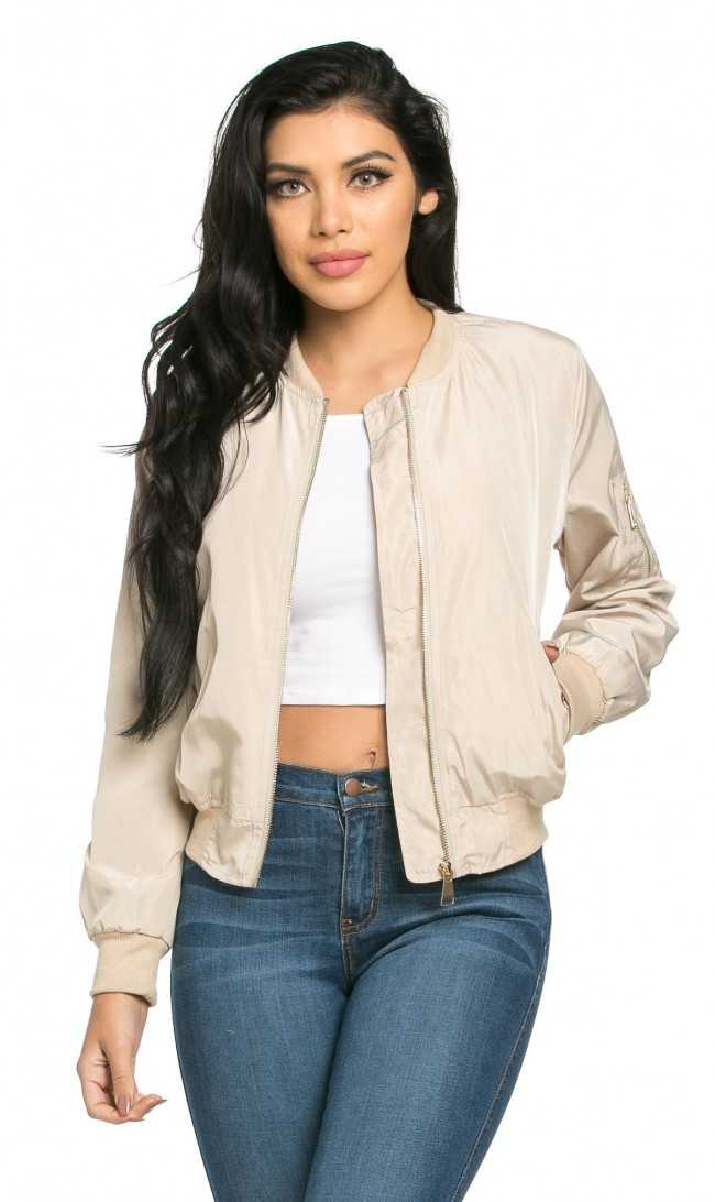 Lightweight Spring Bomber Jacket in Beige (Plus Sizes Available)