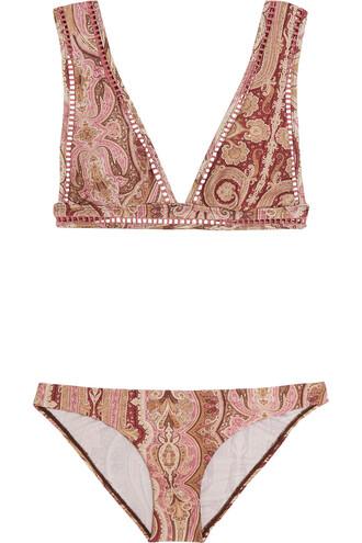 bikini triangle bikini triangle print paisley burgundy swimwear