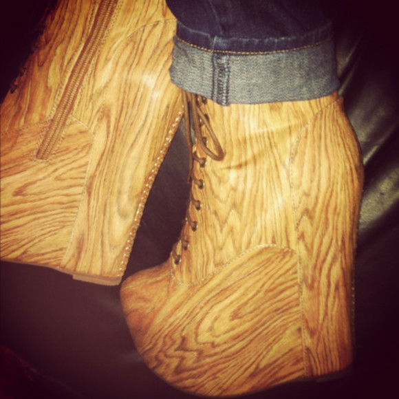 high heels wedge bootie wood jeans