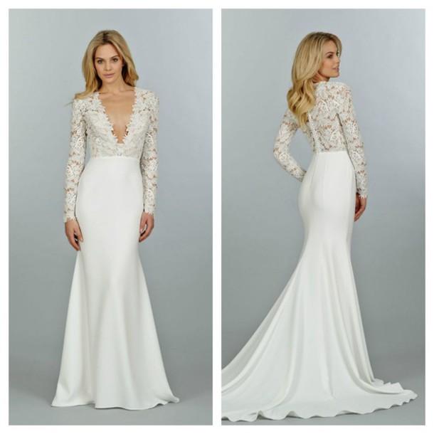 dress prom dress long prom dress lace dress white prom dress white white dress lace long train dress wedding wedding dress low cut dress