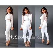 jumpsuit,mysexystyles,celebrity style,sexy,white,mesh