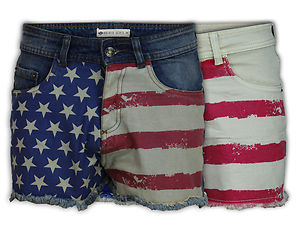 Shorts Women Hot Pants USA American Flag Denim Mini Casual Fashion ...