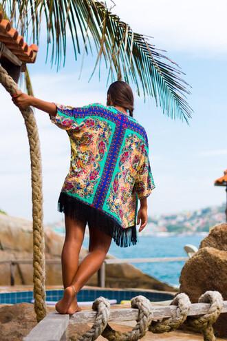 top fashion beach kimono beach dress fringe kimono