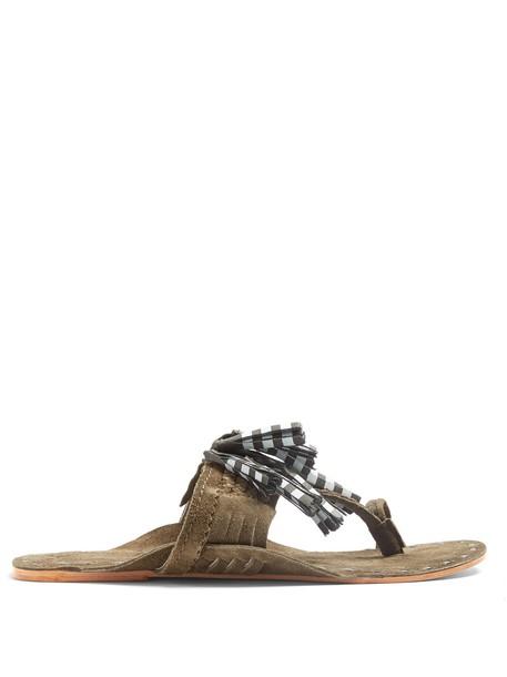 Figue tassel sandals suede khaki shoes