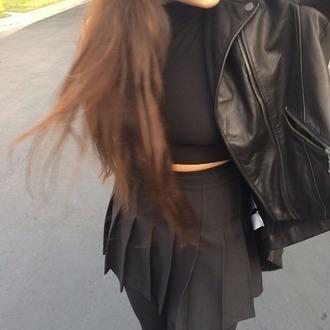 skirt black skirt jacket leather jacket grunge pleated skirt punk all black everything girl pretty style fashion clothes black dress tennis skirt black crop tops black crop top black jacket black pleated skirt black leather jacket