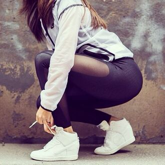 shoes nike cool girl style cool cute wedge sneakers lovely blogger style blogger hipster nice summer hot white black