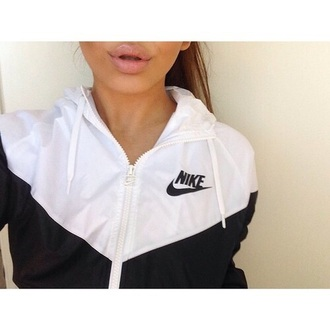 windbreaker coat nike raincoat black and white jacket nike jacket vintage nike jacket white black women