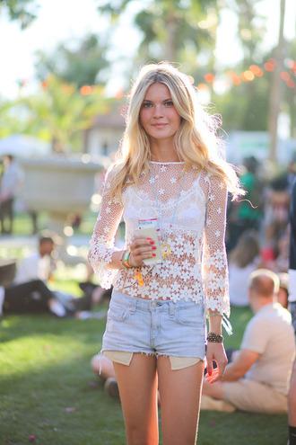 shirt white top fashion flowers crochet festival