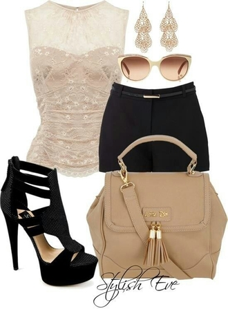 shoes summer black heels black shoes heels high heels sunglasses bag beige nude tan shorts black black shorts high waisted sexy belted t-shirt top lace sleevless summer top lace top