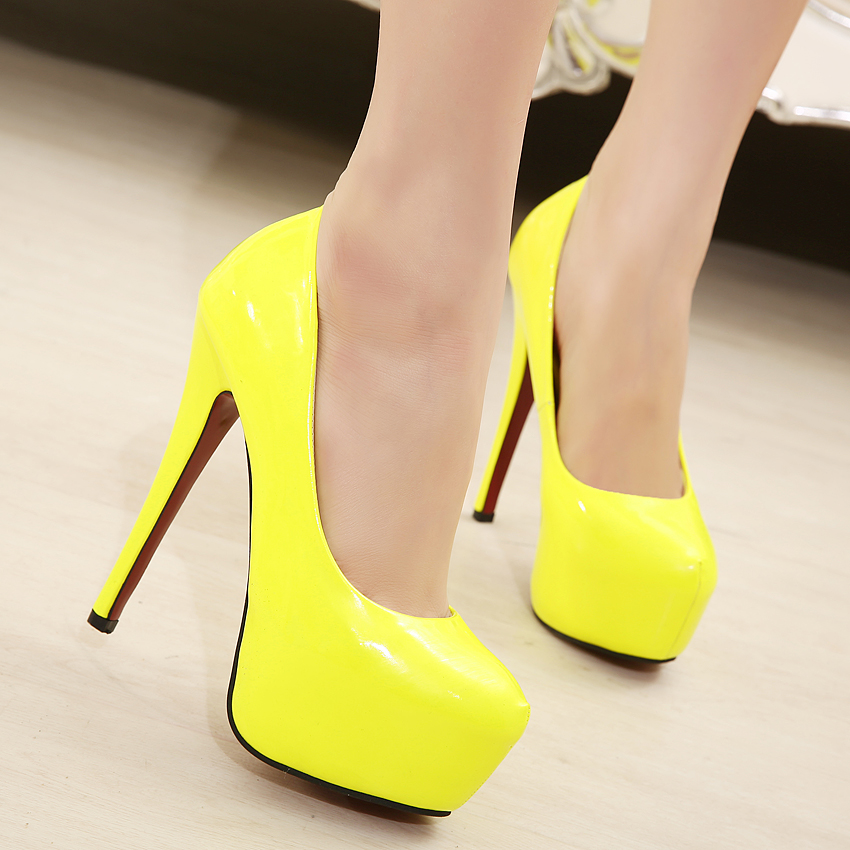 Free shipping Women Hot Neon color sexy 14.5CM ultra High heel ...