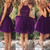 Purple sequin Tulle Short Prom Dress, Homecoming Dresse - 24prom
