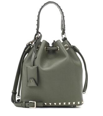 bag bucket bag leather green
