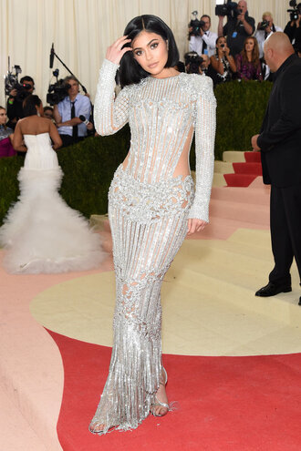 bodycon dress silver beaded dress embellished sparkly dress kylie jenner long prom dress long dress gown prom dress wedding dress kardashians red carpet dress balmain met gala silver sandals dress