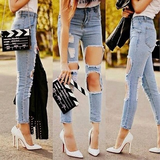 bag jeans torn jeans shoes