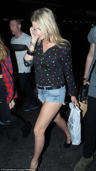 blouse shirt stars celebrity style black multicolor cute laura whitmore