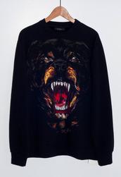 black sweater,rottweiler,sweater,tiger,black,crewneck,givenchy,dog