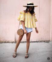 top,hat,tumblr,yellow,yellow top,sun hat,shorts,denim,denim shorts,bag,round bag,sandals,shoes,vacation outfits