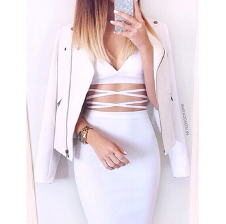 jacket white crop tops white dress white pencil skirt white addiction dress all white everything