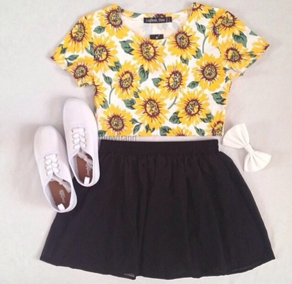 shirt floral sunflower crop tops blouse